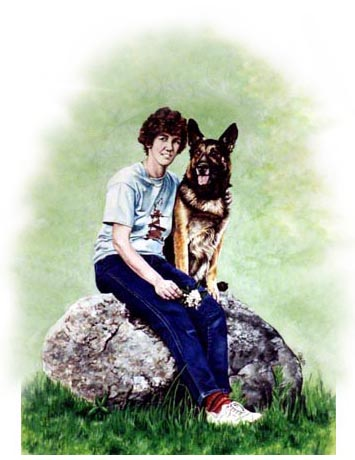 "Mom & Dad's Painting ~ Kathy commissioned me to do a 11""x14"" Watercolour Painting of herself and her German Shepherd, Gunny. She wanted to give the art to her parents as a Mother's Day and a Father's Day present. Got really wrapped up and enjoyed working on the texture of the stone and the fabric of her jeans."