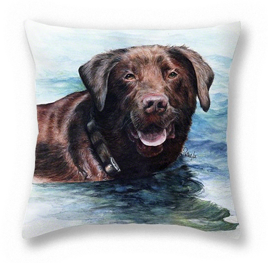 Chocolate Lab Pillow ~ Art by Patrice