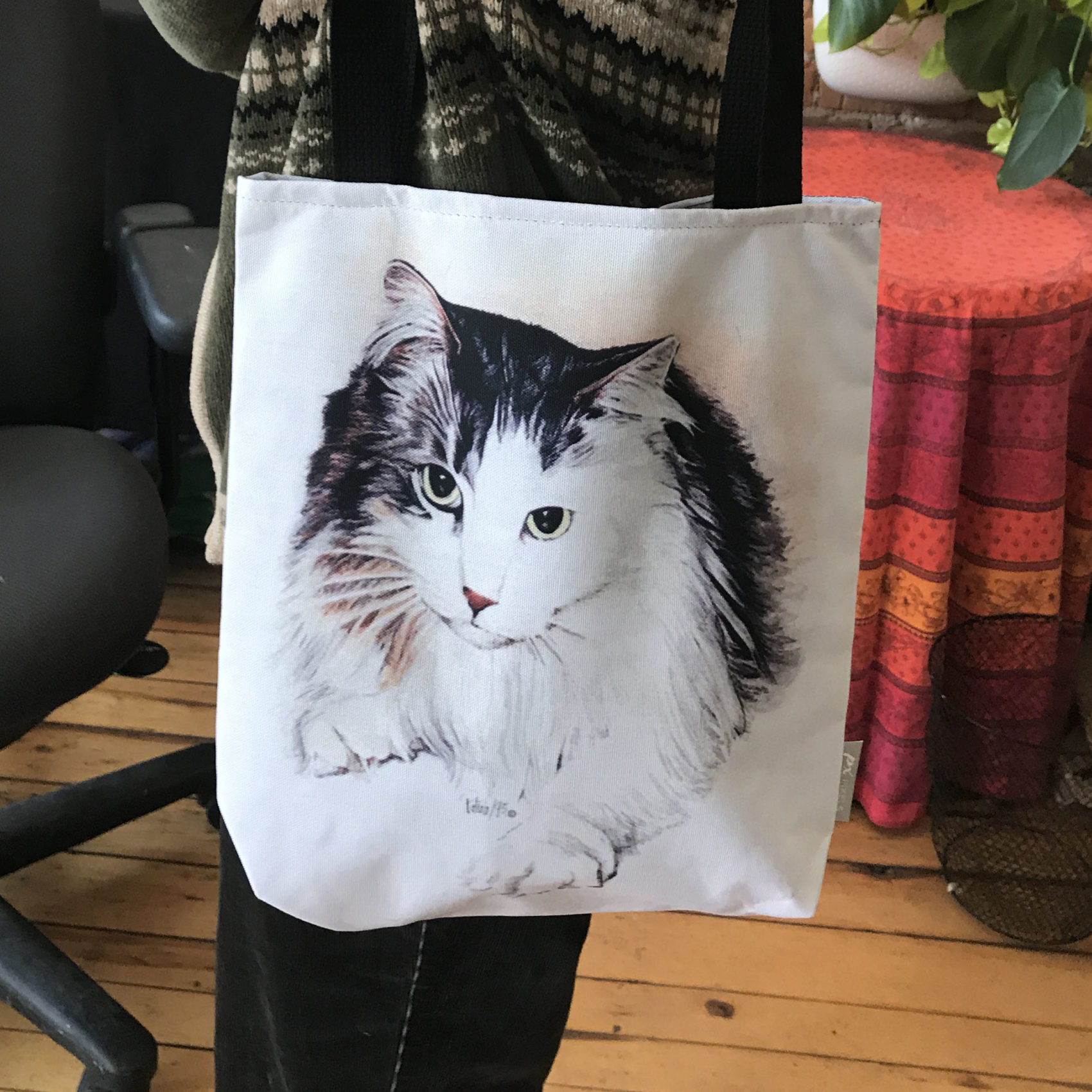 Longhaired Kitty Tote Bag ~ Art Products by Patrice